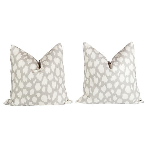 Linen Leopard Pattern Pillows, Pair