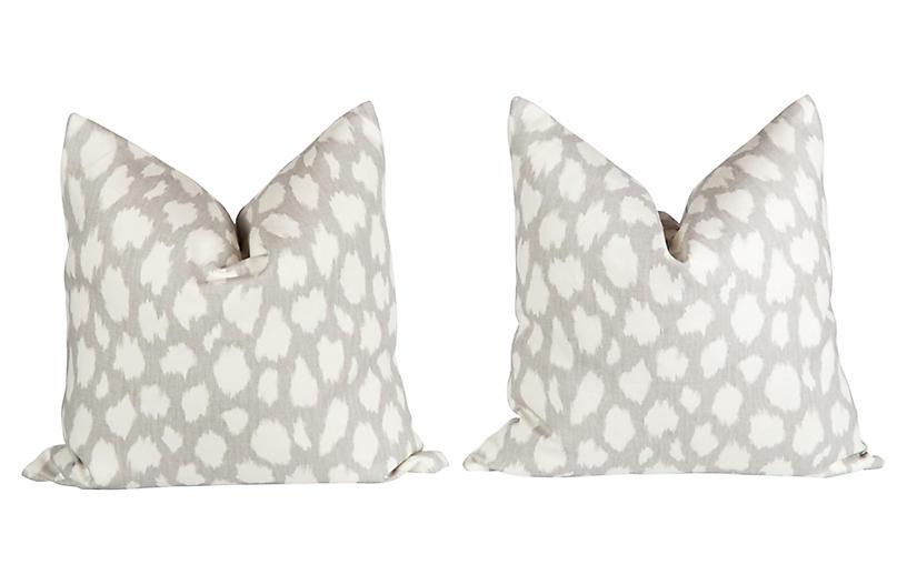 Linen Leopard Pattern Pillows, Pair