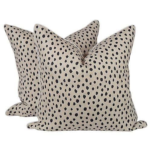 Cream Linen Tanzania Spotted Pillows, Pr
