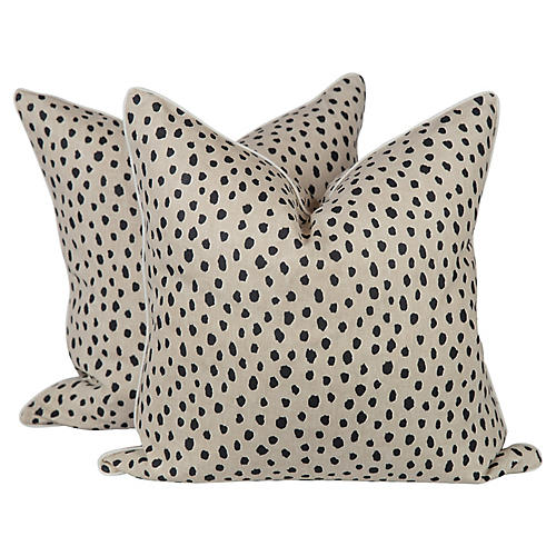 Cream Linen Tanzania Spotted Pillows, Pr