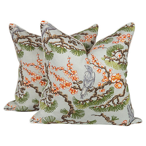 Cherry Blossom Chinoiserie Pillows, Pair