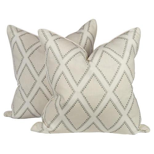 Oyster Linen Brookhaven Pillows, Pair