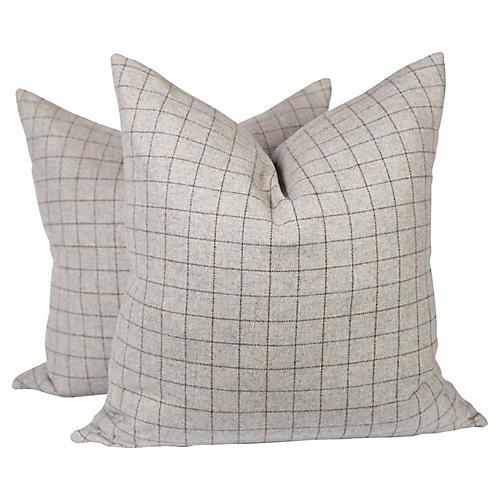 Gray & Camel Plaid Wool Pillows, Pair