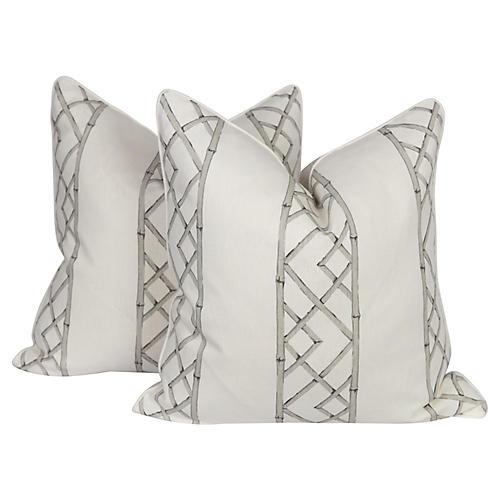 Gray & Ivory Linen Trellis Pillows, Pair