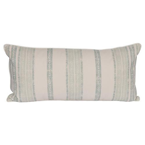Celadon Stripe Linen Lumbar Pillow