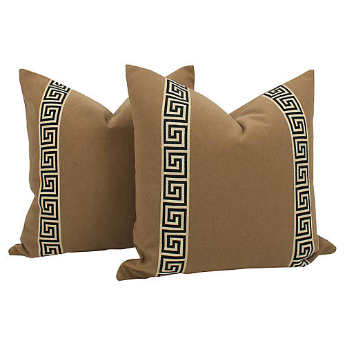 Camel Wool-Blend Greek Key Pillows, Pr