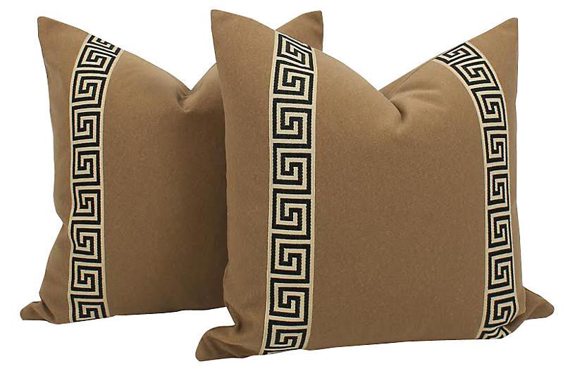 Camel Wool-Blend Greek Key Pillows, Pr