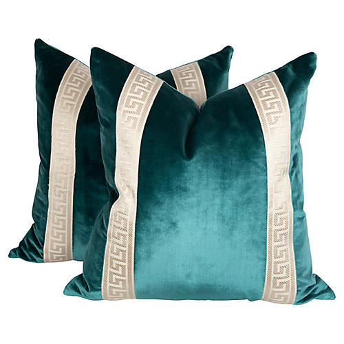 Teal Silk Velvet Greek Key Pillows, Pair