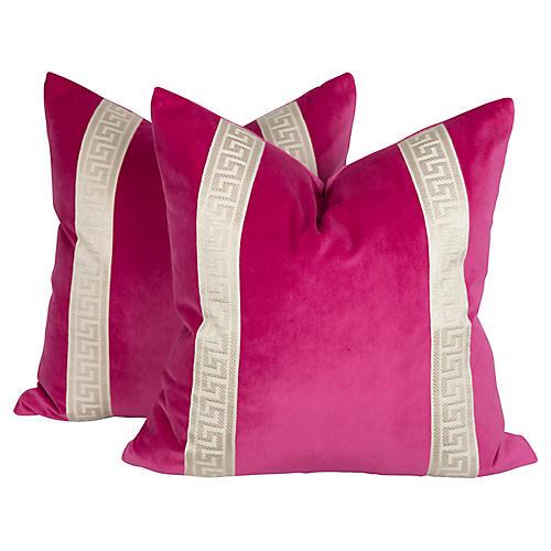 Fuchsia Velvet Greek Key Pillows, Pair