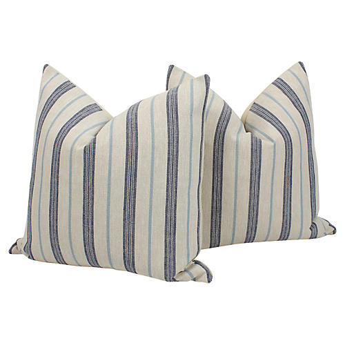 Harlow Linen Ticking Stripe Pillows, Pr