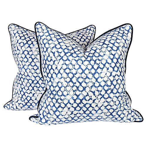 Navy & Ivory Scale Pillows, Pair