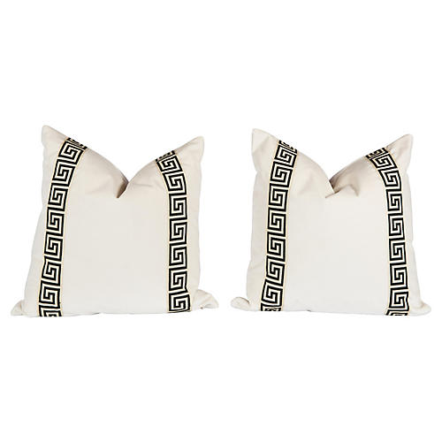 Ivory & Black Greek Key Pillows, Pair