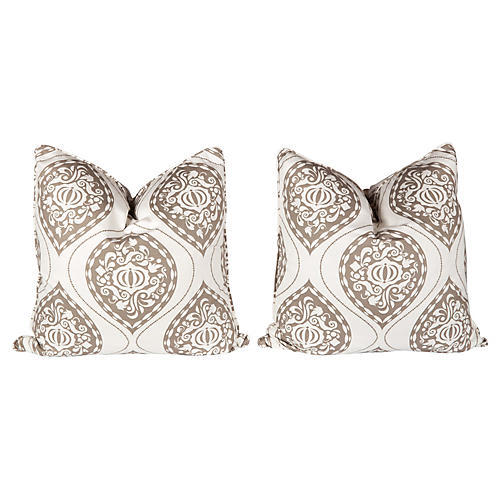Tan & Ivory Ogee Medallion Pillows, Pair