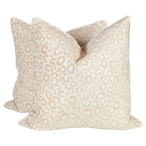 Cream & Ivory Leopard Pillows, Pair