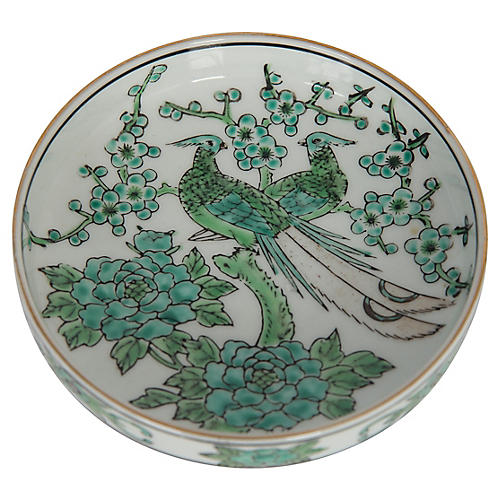 Green Chinoiserie Bird Trinket Dish