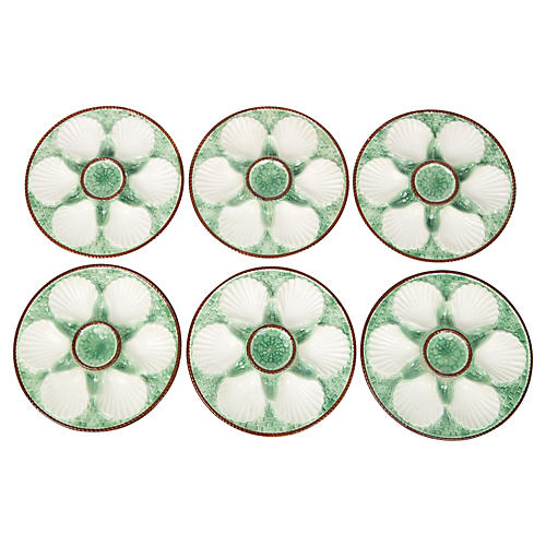 Green French Majolica Oyster Plates S/6