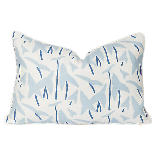 Linen Pale Blue Arrowhead Lumbar Pillow