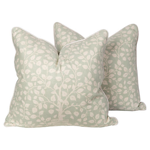Light Green Linen Tree Pillows, Pair
