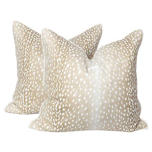Cream Linen Antelope Pillows, Pair