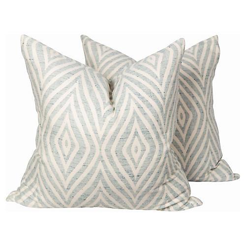Light Blue & Cream Swirl Pillows, Pair