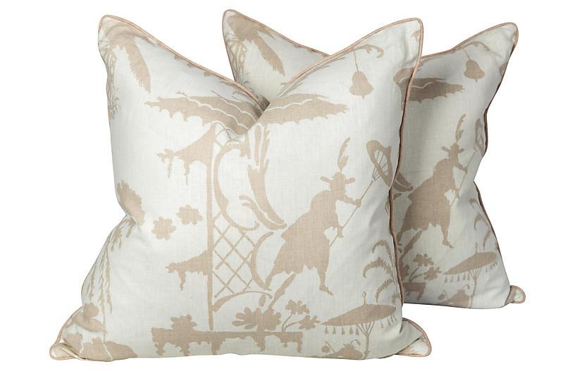 Chinoiserie Toile Linen Pillows, Pair