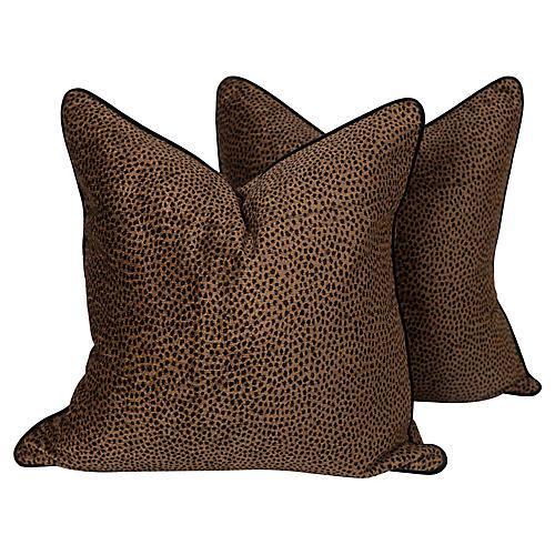 Chocolate Spotted Tanzania Pillows, Pair
