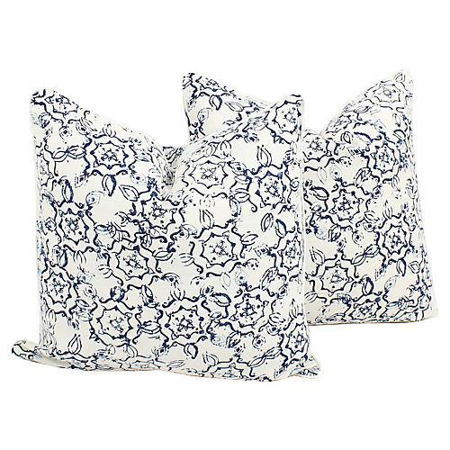 Blue Linen Ink Swirl Pillows, Pair