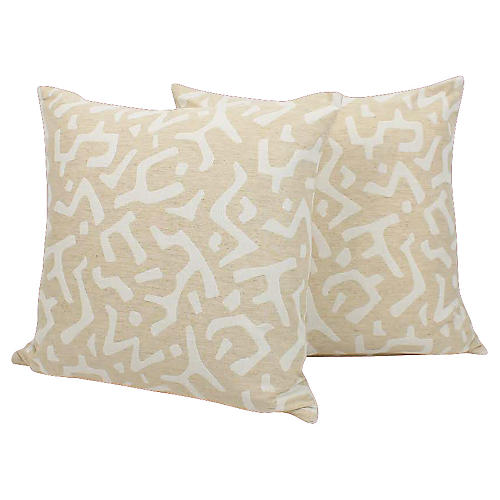 Cream & Ivory Tribal Pillows, Pair