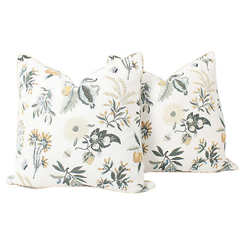 Floral Printemps Linen Pillows, Pair