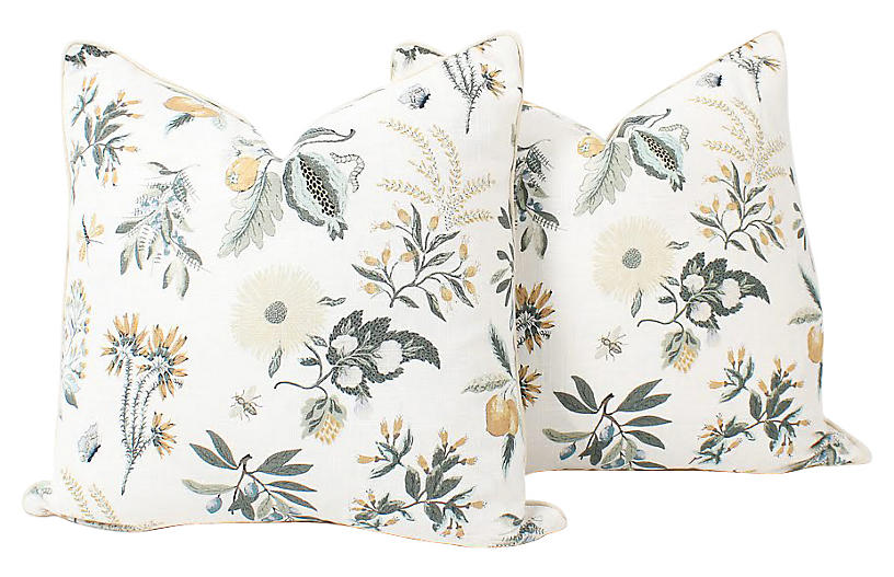 Floral Printemps Linen Pillows, Pair