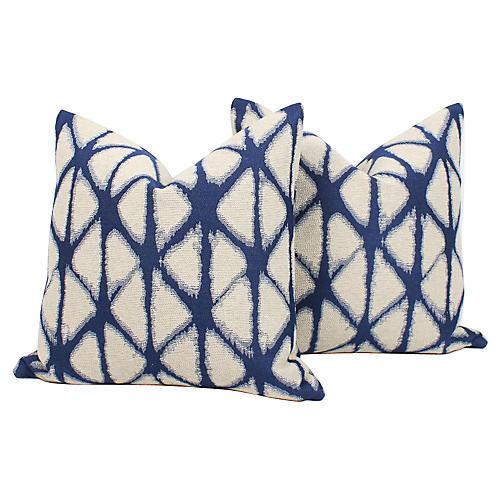 Indigo Tribal Batik Pillows, Pair