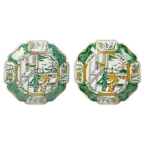 Green Chinoiserie Decorative Plates, Pr