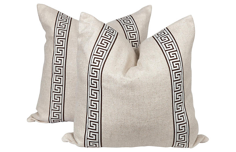 Brown & Cream Greek Key Pillows, Pair