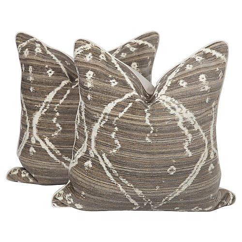 Coffee & Cream Linen Tribal Pillows, Pr