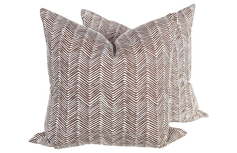 Chocolate & Ivory Zigzag Pillows, Pair