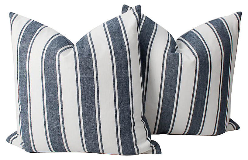 Blue & White Tilton Stripe Pillows, Pair