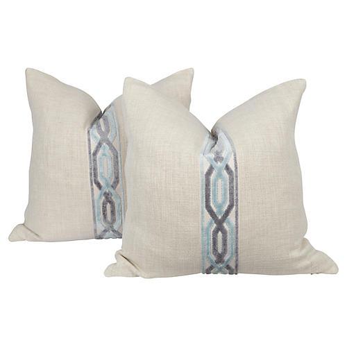 Oatmeal Linen Hex Trim Pillows, Pair