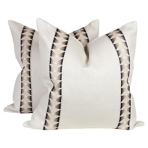 Ivory Linen Aztec Tape Pillows, Pair