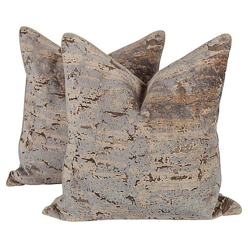 Taupe & Blue Cut-Velvet Ombré Pillows