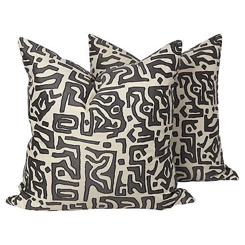 Kasai Tribal Embroidered Pillows, Pair