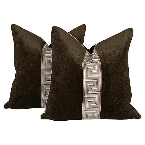 Moss Green Velvet Greek Key Pillows, Pr