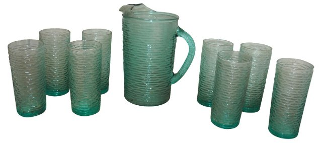 Turquoise Pitcher & Glasses, S/9