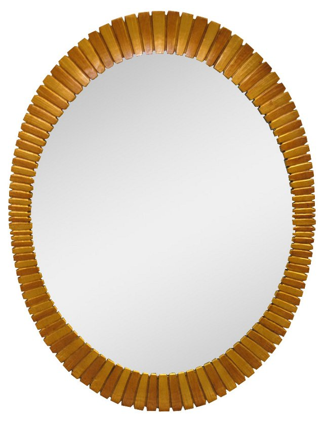 1960s Gold Oval Mirror