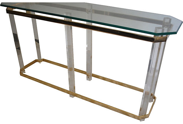 Brass & Lucite Console Table