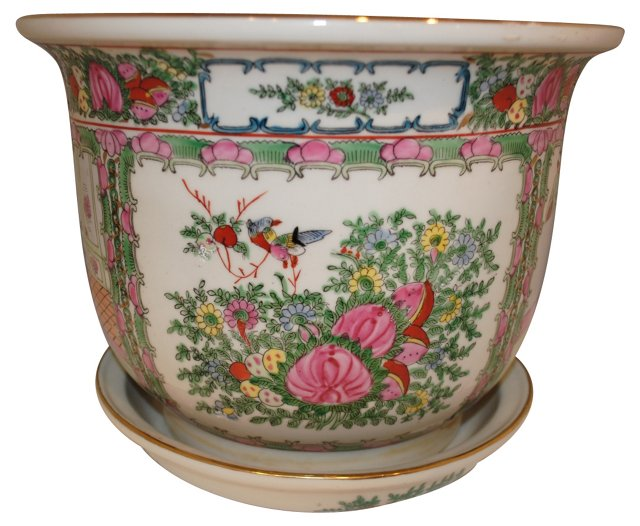 Rose Medallion Cachepot & Tray