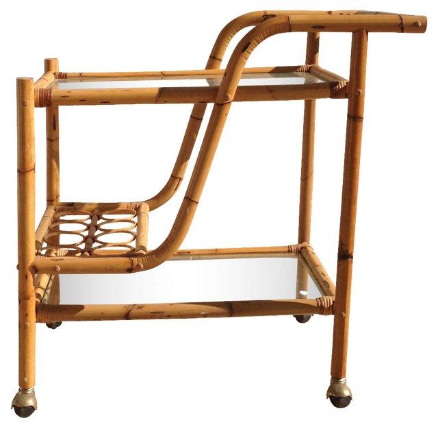 Rattan & Glass Bar Cart