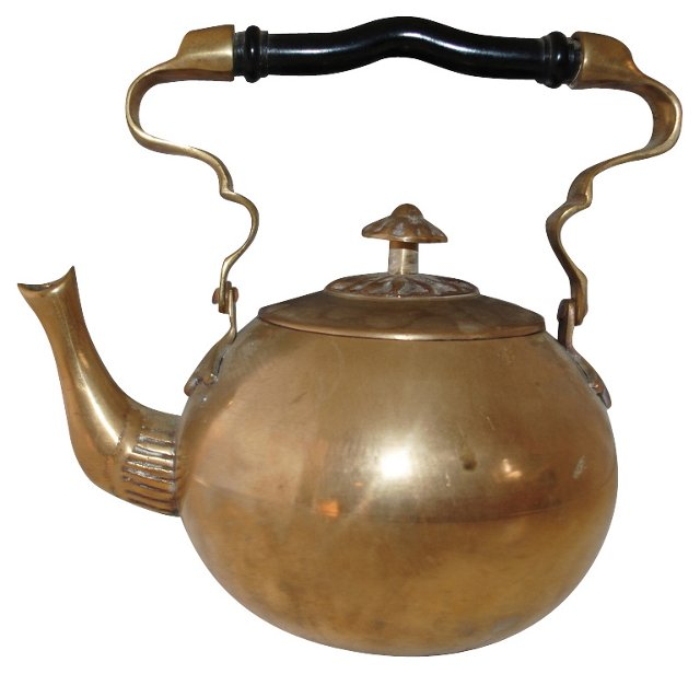 Brass Teapot w/ Ebonized Handle