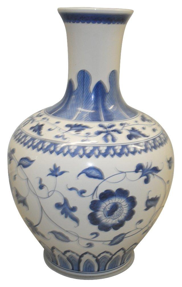 Blue & White    Chinoiserie Vase