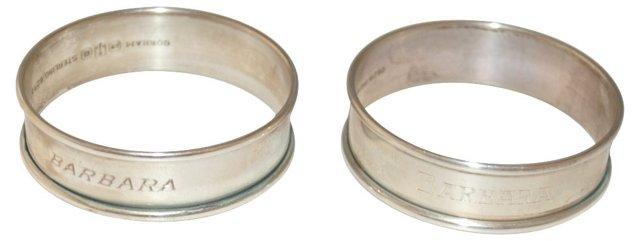 Sterling Napkin Rings, Pair BARBARA