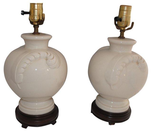 Porcelain Feather Lamps, Pair